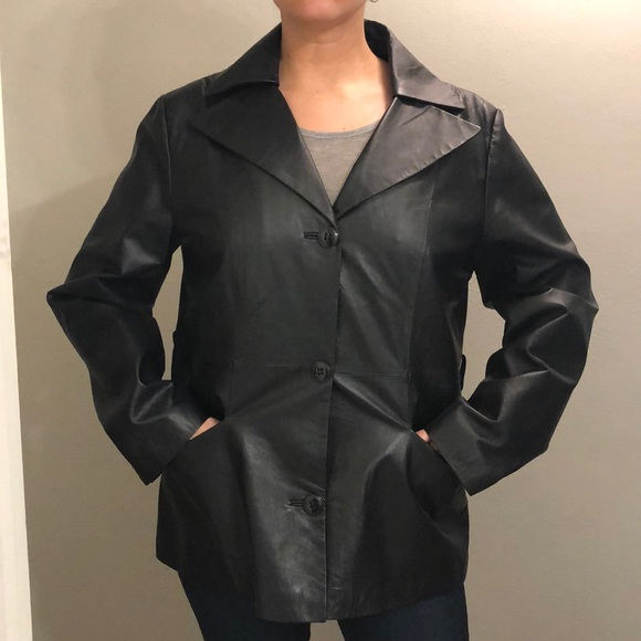 East 5th Jackets & Blazers - Genuine Leather Black coat for Larger Woman. Great